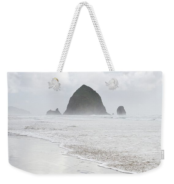 Weekender Tote Bag featuring the photograph Haystack Rock by Tim Newton