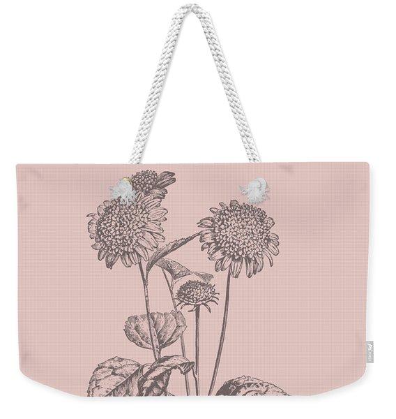 Helianthus Blush Pink Flower Weekender Tote Bag