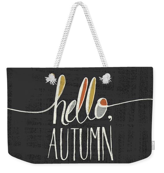 Hello Autumn Fall Art Black Background Weekender Tote Bag