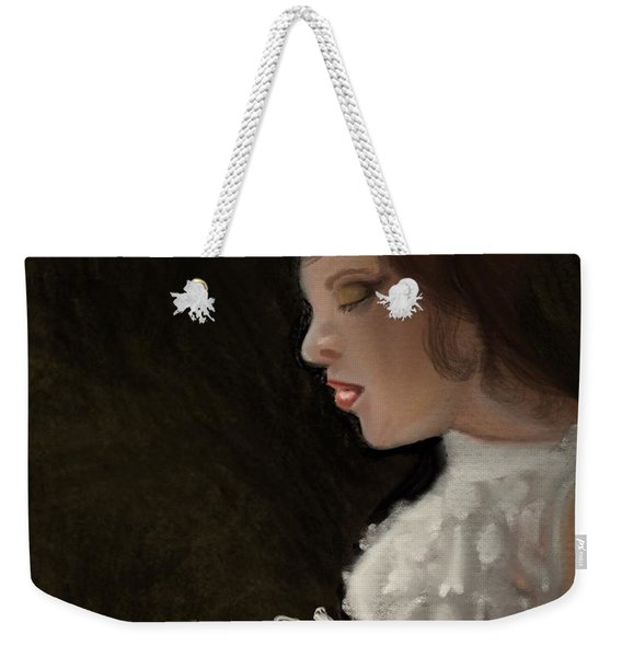 Weekender Tote Bag featuring the painting Her Big Day by Fe Jones