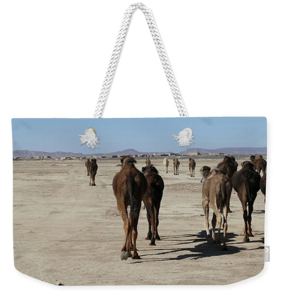 Herd Of Camels Crossing The Highway Near  Rissani Weekender Tote Bag
