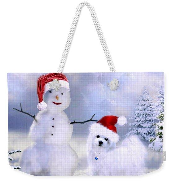 Hermes And Snowman Weekender Tote Bag