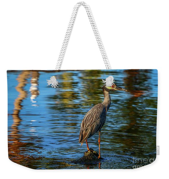 Weekender Tote Bag featuring the photograph Heron On Rock by Tom Claud