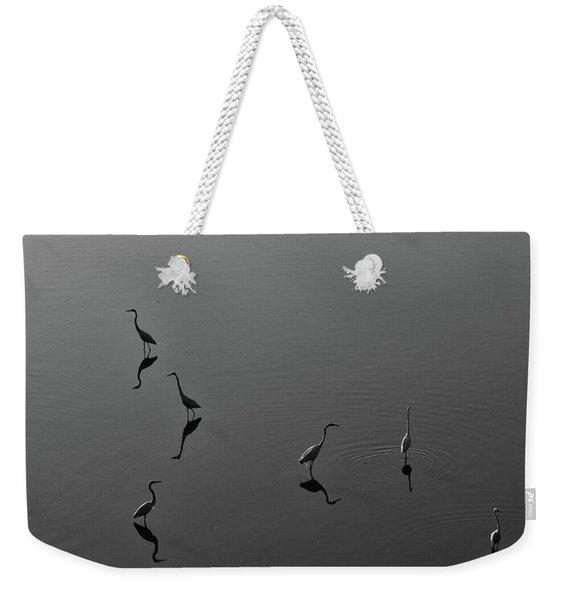 Herons On Lake 367 In Black And White Weekender Tote Bag