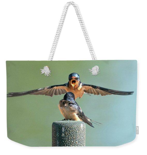 Hey, Babe, Let's Rock N Roll.  Barn Swallows Weekender Tote Bag