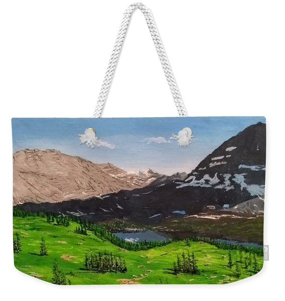 Weekender Tote Bag featuring the painting Hidden Lake Pass by Kevin Daly