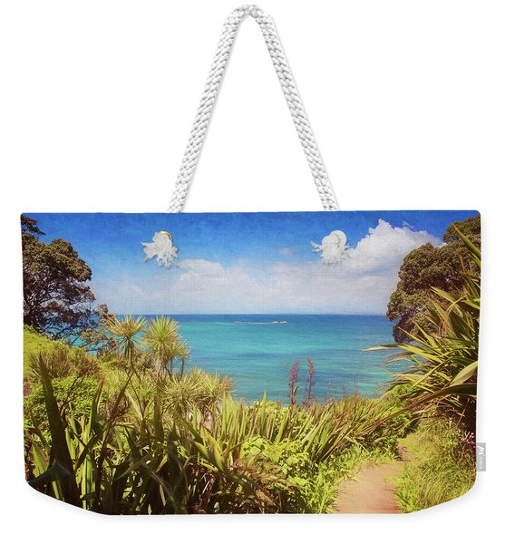 Hiking On Tiritiri Matangi New Zealand Painterly Weekender Tote Bag