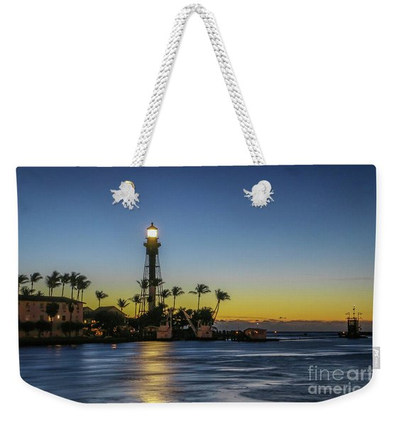 Weekender Tote Bag featuring the photograph Hillsboro Light Reflection by Tom Claud