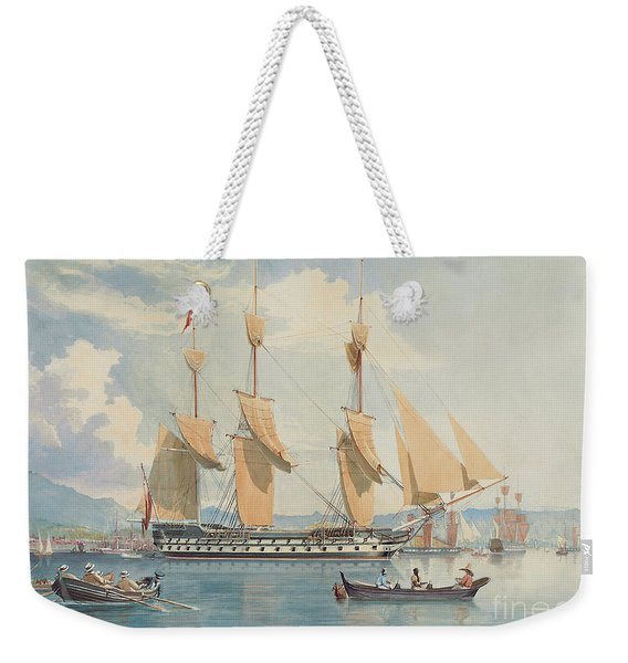 Hms Ganges Lying At Anchor And Drying Her Sails Off Rio De Janeiro  Weekender Tote Bag