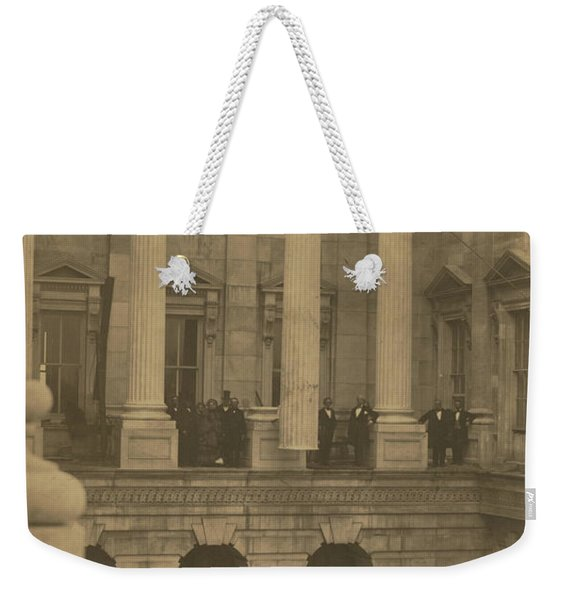 Hoisting Final Marble Column At United States Capitol Weekender Tote Bag