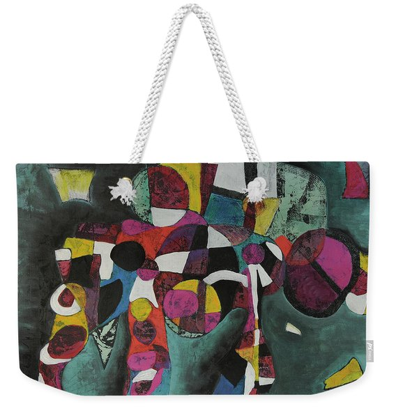 Weekender Tote Bag featuring the painting Holding Up The Equinox by Mark Jordan