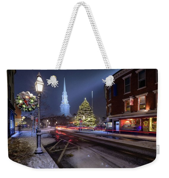 Weekender Tote Bag featuring the photograph Holiday Magic, Market Square by Jeff Sinon