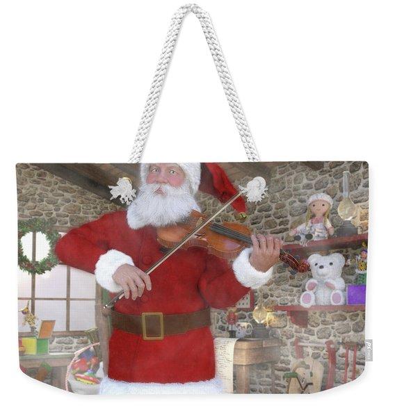 Holiday Santa Playing Violin Weekender Tote Bag