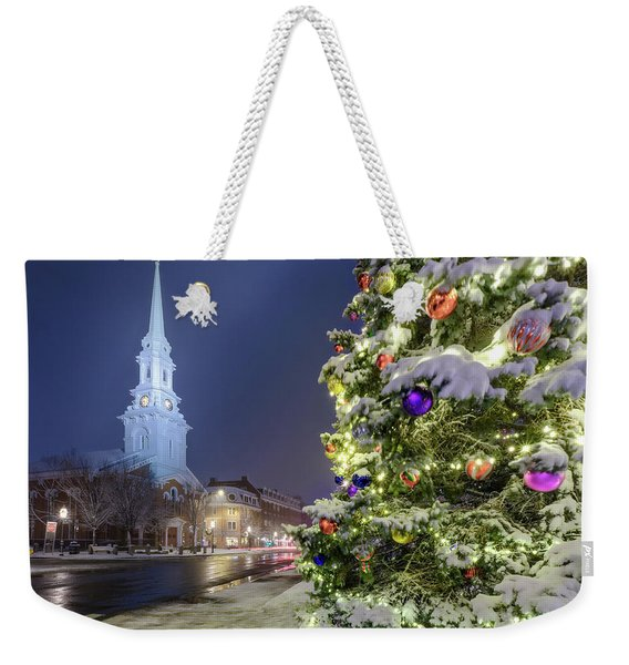 Weekender Tote Bag featuring the photograph Holiday Snow, Market Square by Jeff Sinon