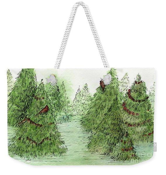Holiday Trees Woodland Landscape Illustration Weekender Tote Bag