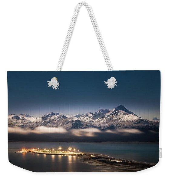 Homer Spit With Moonlit Mountains Weekender Tote Bag