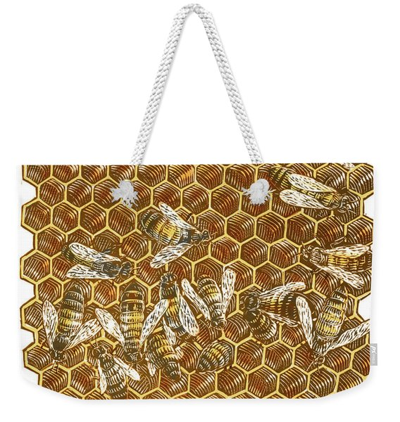 Weekender Tote Bag featuring the drawing Honey Bees by Clint Hansen