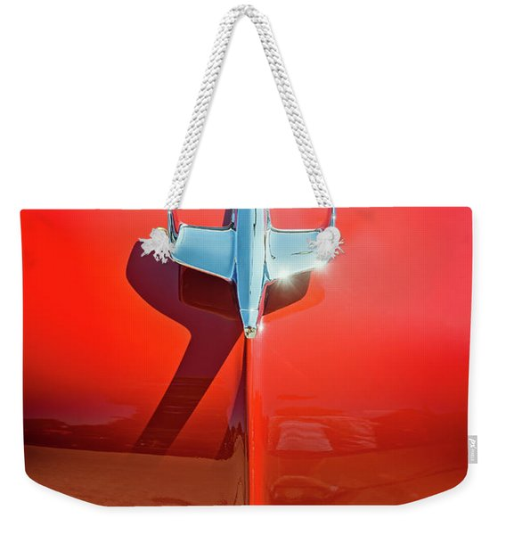 Hood Ornament On A Red 55 Chevy Weekender Tote Bag