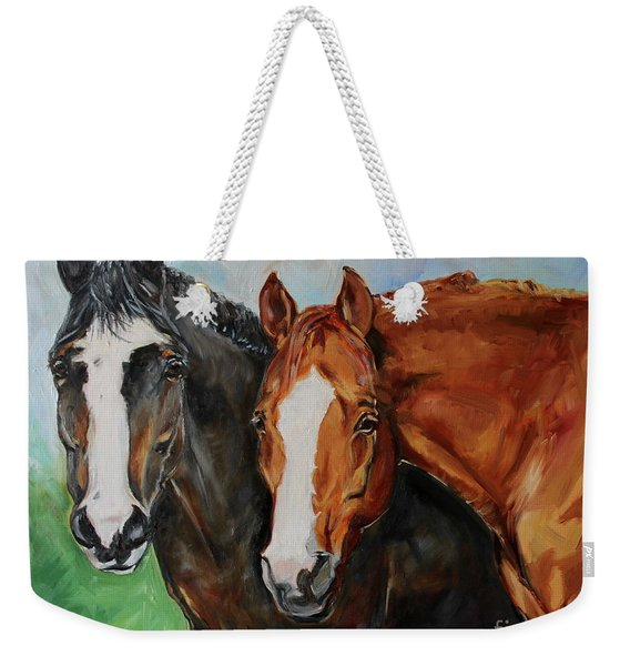 Horses In Oil Paint Weekender Tote Bag