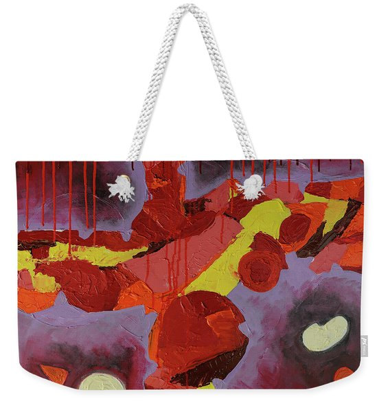Weekender Tote Bag featuring the photograph Hot Red by Mark Jordan