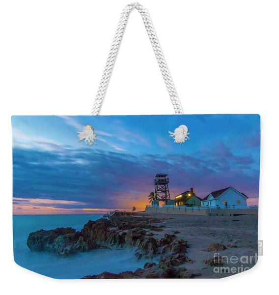 Weekender Tote Bag featuring the photograph House Of Refuge Morning by Tom Claud