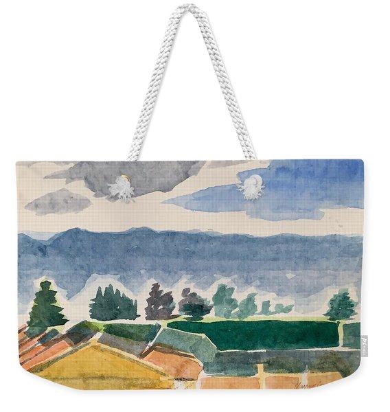 Houses, Trees, Mountains, Clouds Weekender Tote Bag