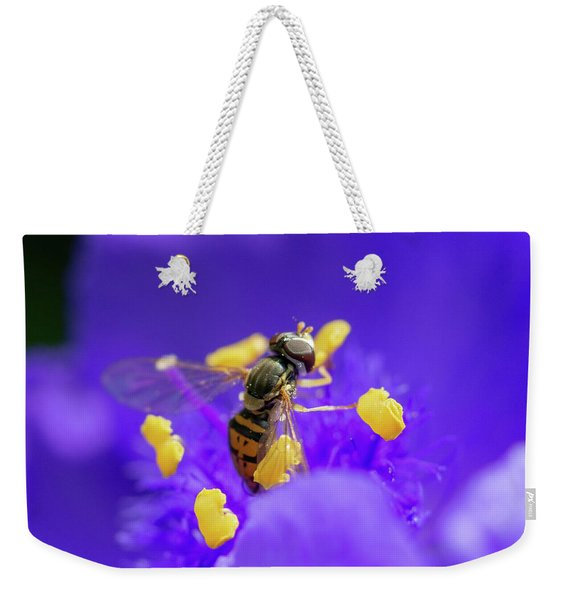 Hoverfly On A Purple Plant Weekender Tote Bag