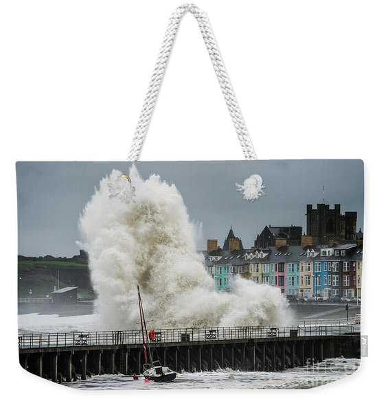 Huge Wave Hitting Aberystwyth Seafront Weekender Tote Bag
