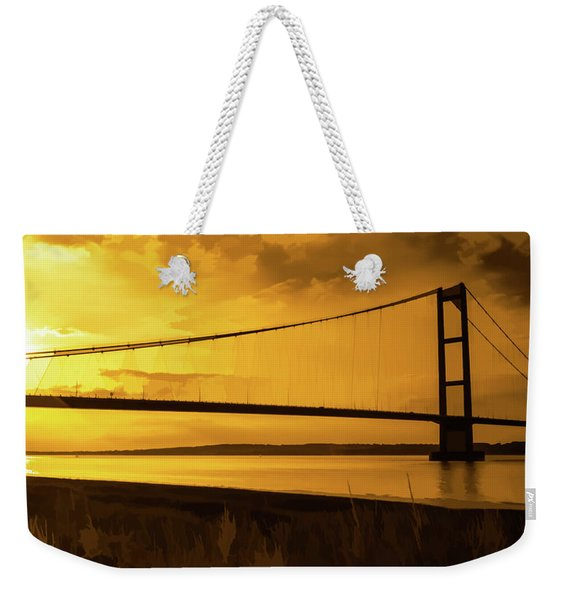 Humber Bridge Golden Sky Weekender Tote Bag