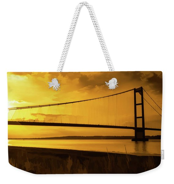 Weekender Tote Bag featuring the photograph Humber Bridge Golden Sky by Scott Lyons