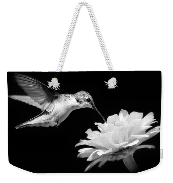 Hummingbird And Flower Black And White Weekender Tote Bag