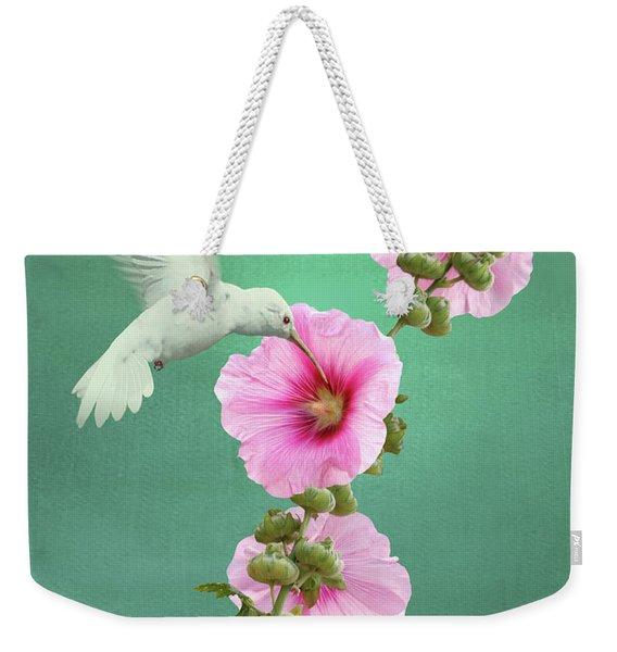 Hummingbird And Malva Wildflower Weekender Tote Bag
