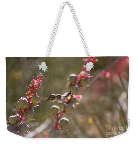 Hummingbird Flying To Red Yucca 1 In 3 Weekender Tote Bag