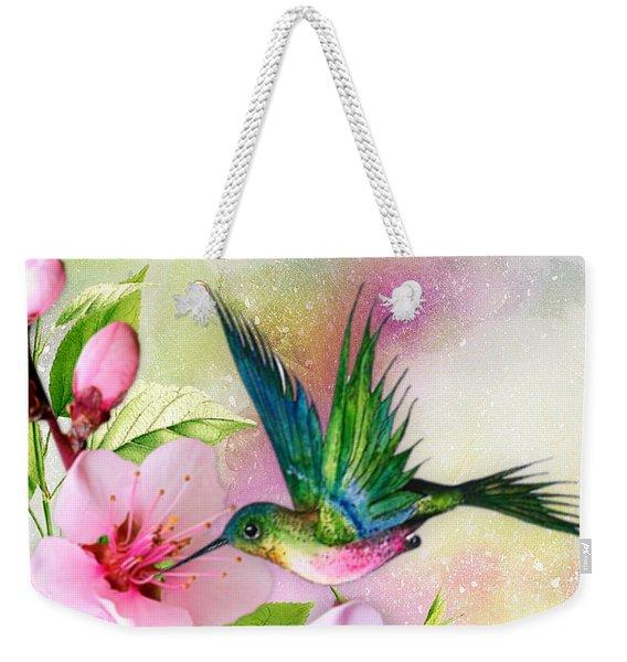Hummingbird On Pink Blossom Weekender Tote Bag