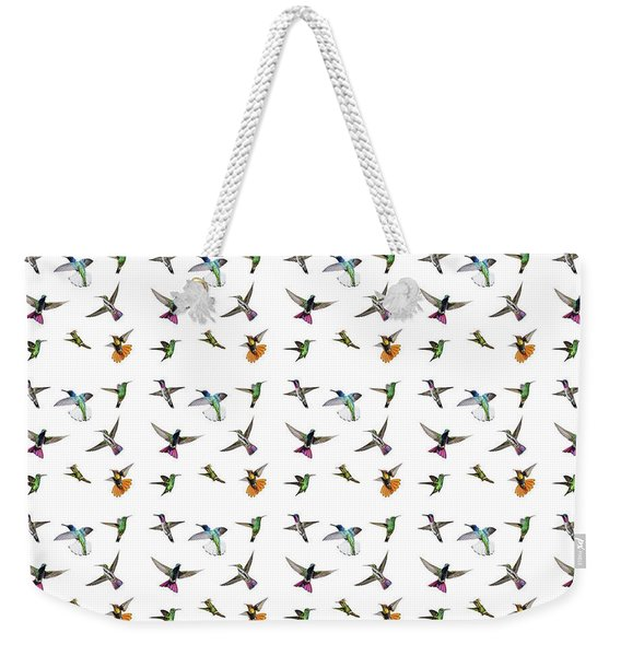 Weekender Tote Bag featuring the digital art Hummingbirds Of Trinidad And Tobago On White by Rachel Lee Young