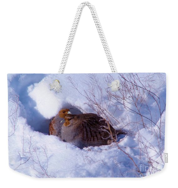 Hunkering Grouse Weekender Tote Bag