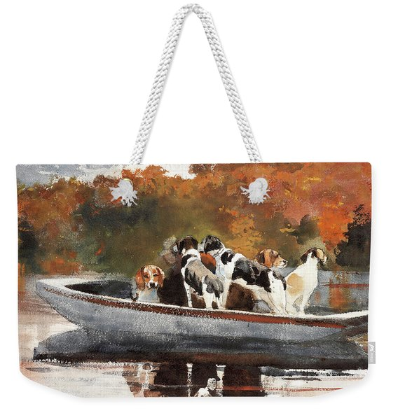 Hunting Dogs In Boat - Digital Remastered Edition Weekender Tote Bag