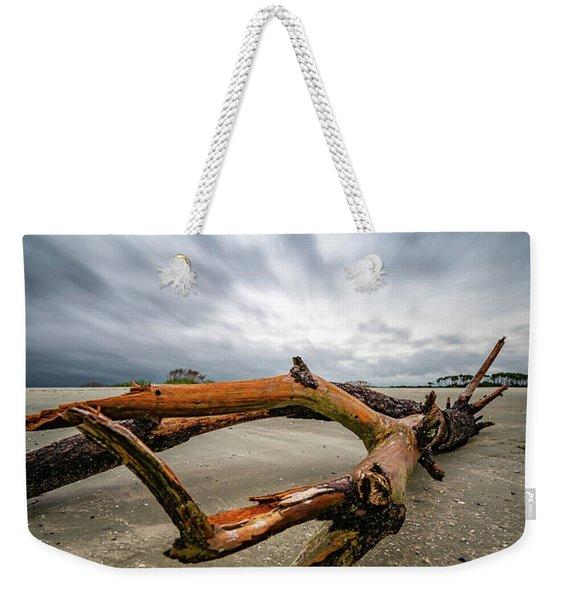 Hurricane Florence Beach Log - Portrait Weekender Tote Bag