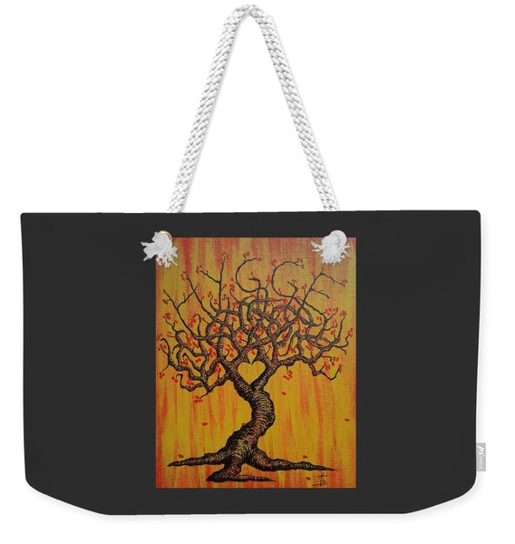Weekender Tote Bag featuring the drawing Hygge Love Tree by Aaron Bombalicki
