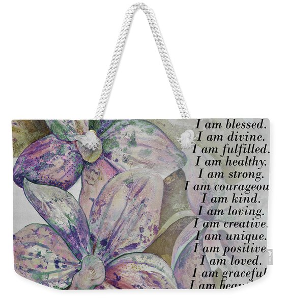I Am...positive Affirmation Art In Lavendar And Rose Weekender Tote Bag
