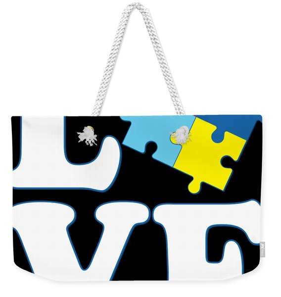 Weekender Tote Bag featuring the digital art I Love Autism by Flippin Sweet Gear