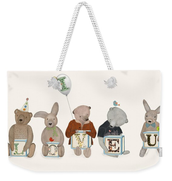 I Love U Weekender Tote Bag