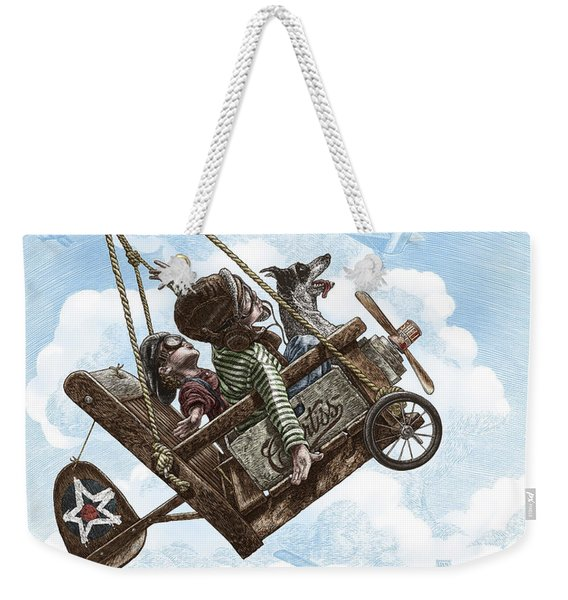 Weekender Tote Bag featuring the drawing I Want To Fly by Clint Hansen