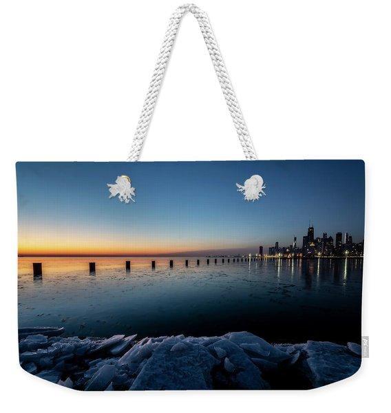 Icy Chicago Skyline At Dawn  Weekender Tote Bag