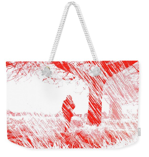 Icy Shards Fall On Setttled Snow Weekender Tote Bag