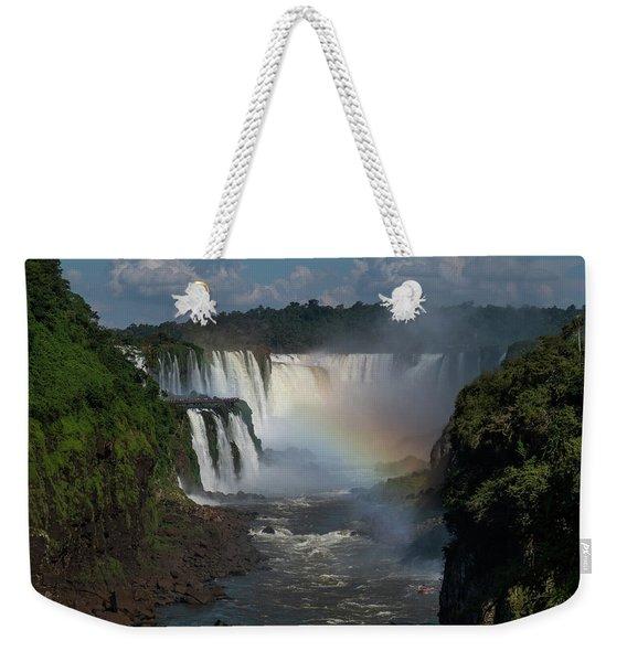 Iguazu Falls With A Rainbow Weekender Tote Bag