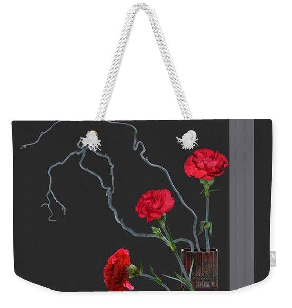 Red Carnations And Bamboo Vase Weekender Tote Bag