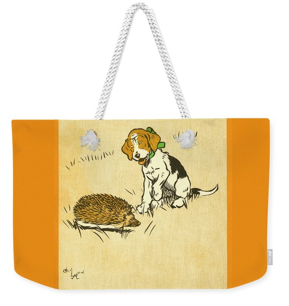 Puppy And Hedgehog, Illustration Of Weekender Tote Bag