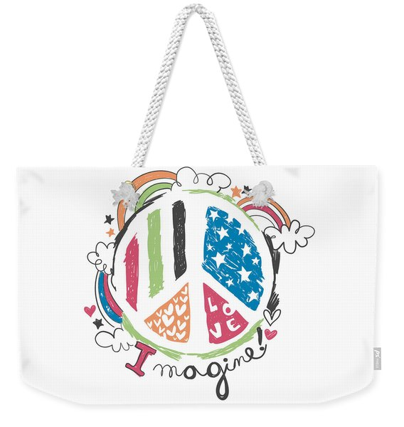 Imagine Love And Peace - Baby Room Nursery Art Poster Print Weekender Tote Bag