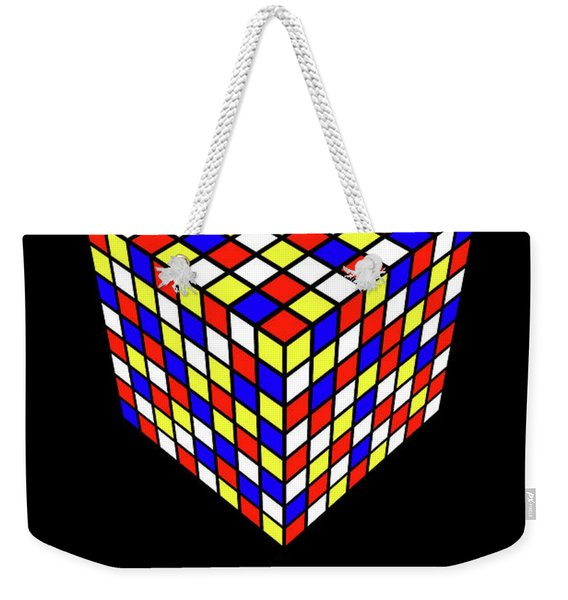 Weekender Tote Bag featuring the digital art Impossible Puzzle Cube by Clayton Bastiani